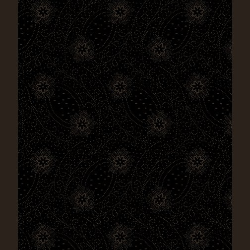 Dotted Flower Scroll Black