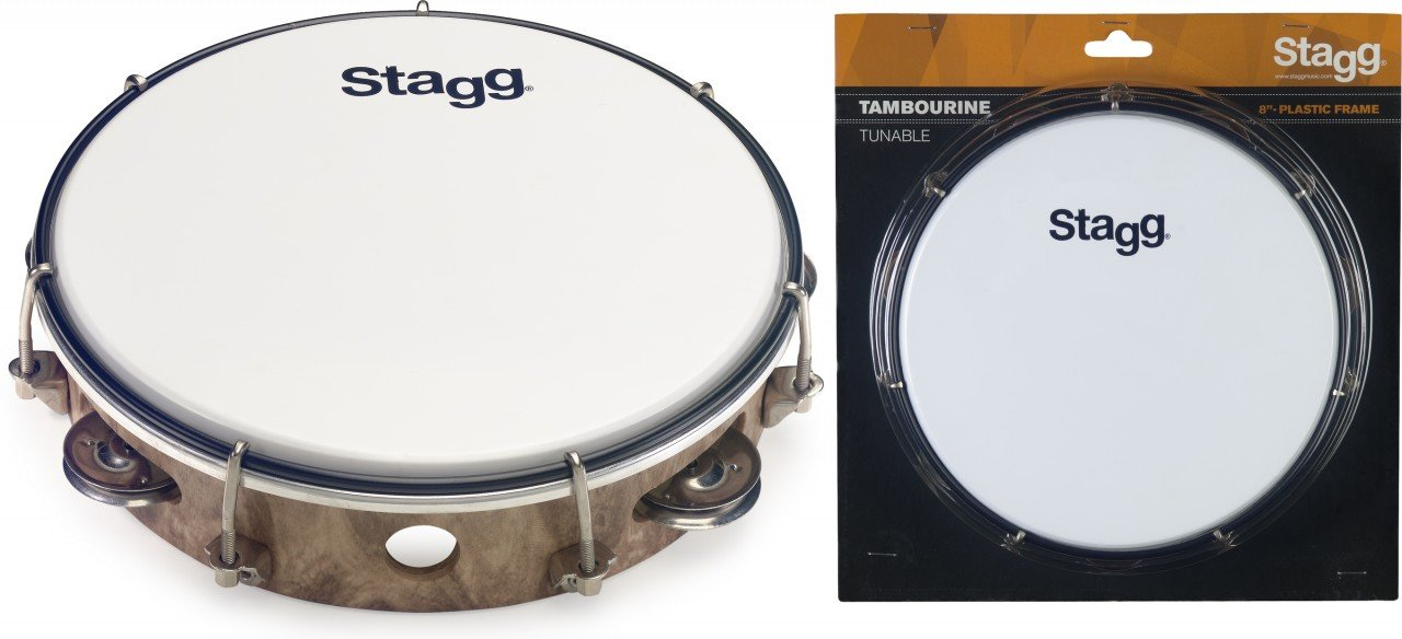 Stagg TAB-108P/WD 8 Tuneable plastic Tambourine, 1 row - Wood colour