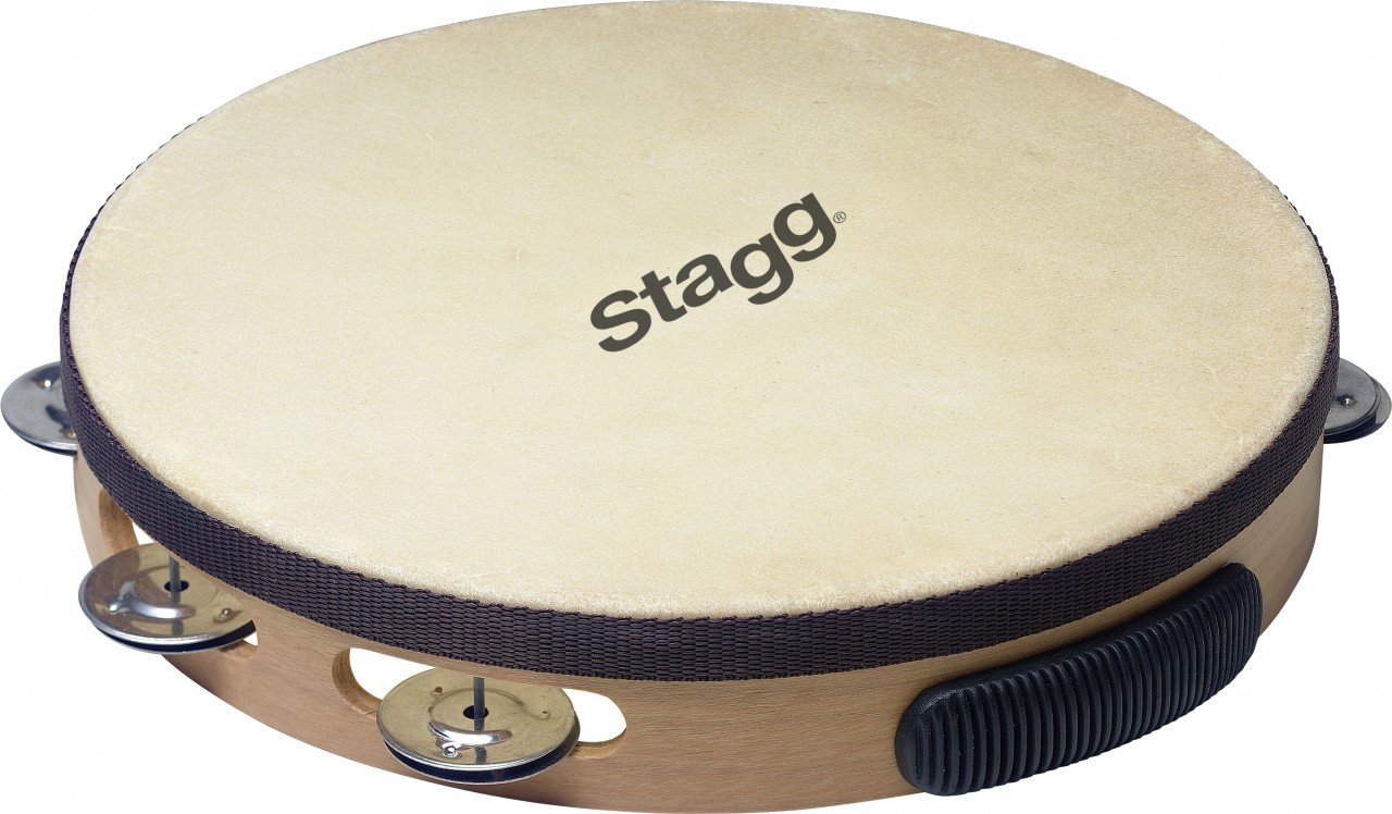 Stagg Pre-Tuned Wood Tambourine With Single Row Jingles 10 in. Natural