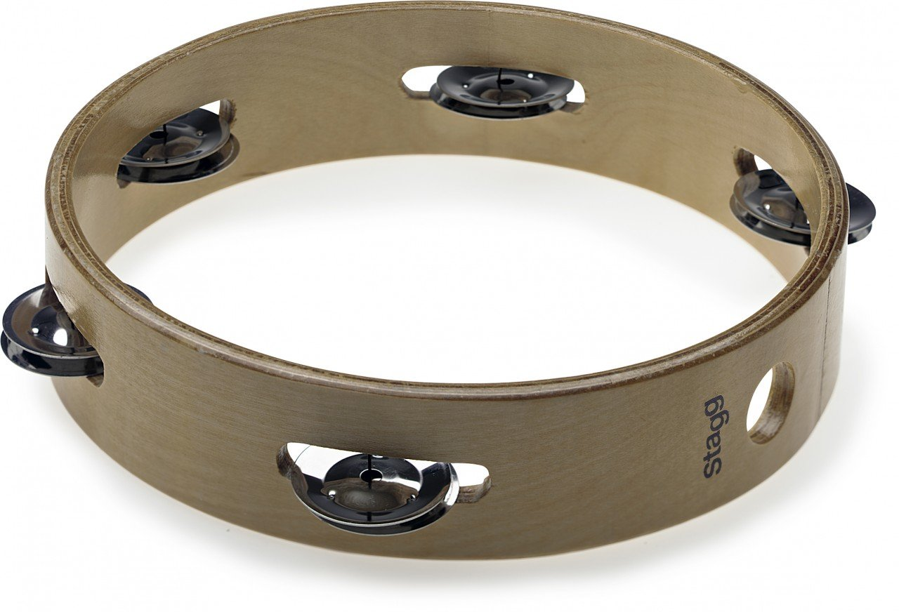8 headless wooden tambourine with 1 row of jingles