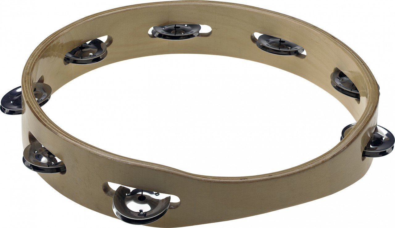 10 headless wooden tambourine with 1 row of jingles