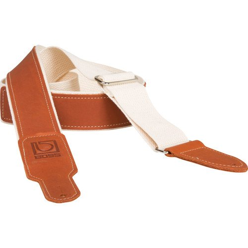 Boss BSH-20-NAT Natural Cotton Instrument Strap with Leather End Tabs