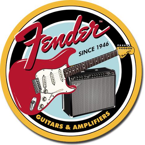 Metal Round Sign - Fender Round