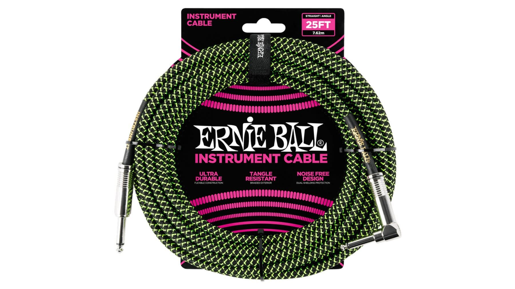 Ernie Ball 25 FT Straight to Angle Instrument Cable  Black and Green