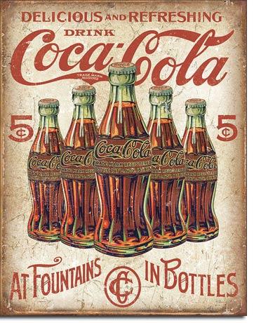 Metal Sign - Coke 5 Bottle Retro