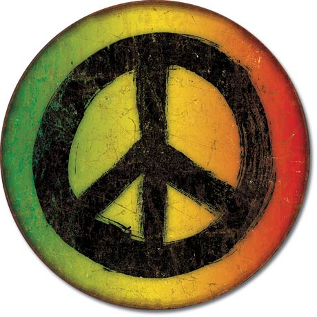 Metal Round Sign - Rasta Peace