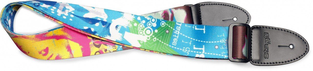 Terylene guitar strap w/ Pop girl pattern
