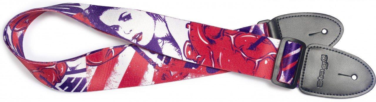 Terylene guitar strap w/ Pop girl pattern