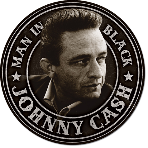 Metal Round Sign - Johnny Cash