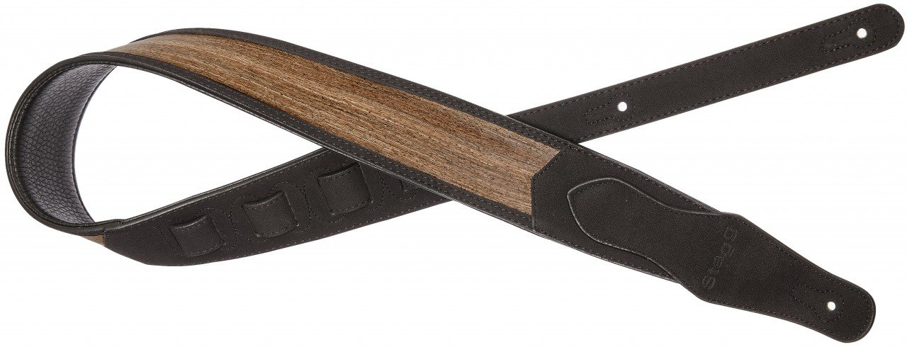 Black padded faux suede guitar strap with wooden vein pattern