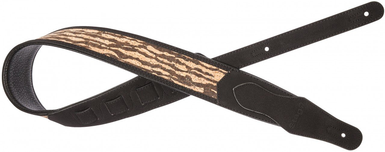 Black padded faux suede guitar strap with wooden tiger pattern