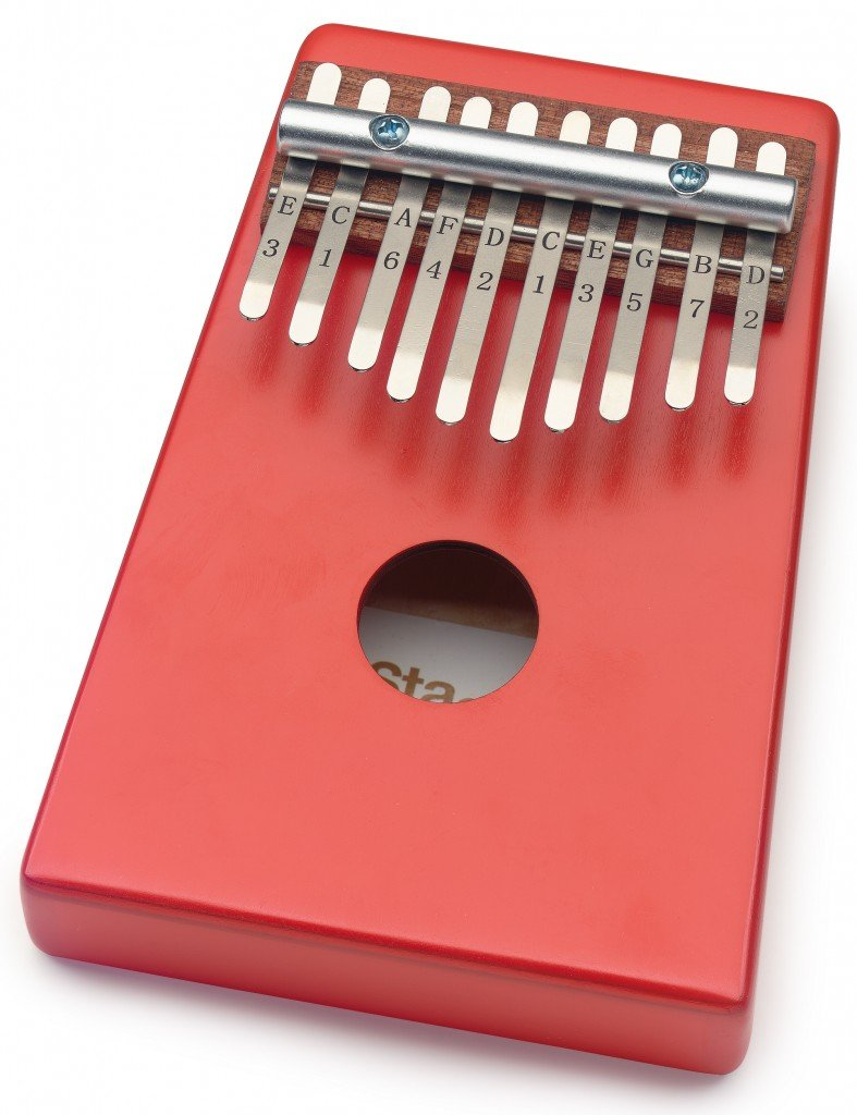 Stagg 10-Key Kid's Kalimba with Note Names Printed on Keys Red