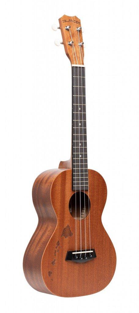 Traditional tenor ukulele with mahogany top and Hawaiian islands engraving