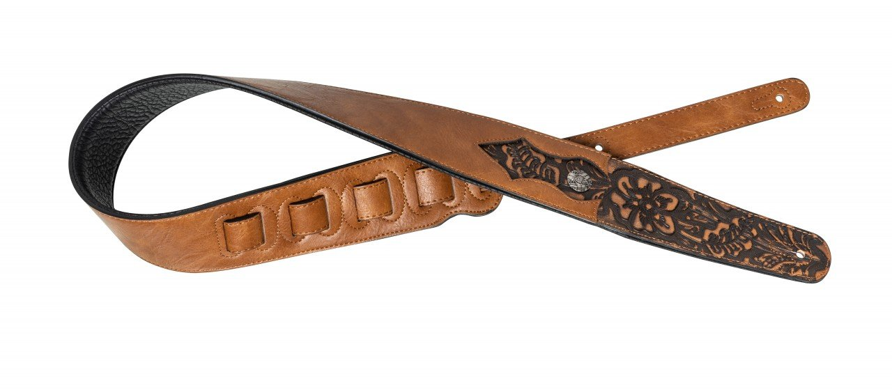 Honey-coloured padded leather guitar strap with engraved flower pattern
