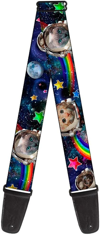 Buckle-Down Guitar Strap Astronaut Cats In Space Rainbows Stars 2 Inches Wide (GS-W30162)