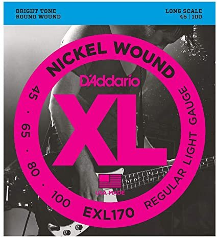 D'Addario EXL170 Nickel Wound Bass Guitar Strings Light 45-100 Long Scale