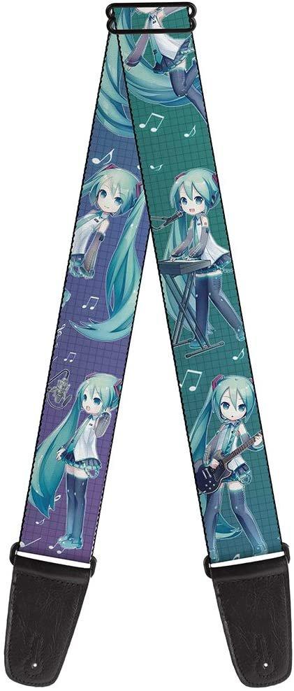 Buckle-Down Guitar Strap Chibi Hatsune Miku Poses Music Notes Grid Aqua Lavender Fade 2 Inches Wide, GS-WHAT005