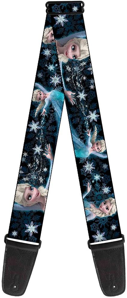 Guitar Strap Elsa the Snow Queen Poses Perfect And Powerful Blues White 2 Inches Wide