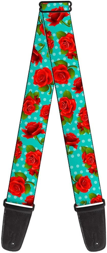 Guitar Strap Red Roses Polka Dots Turquoise 2 Inches Wide