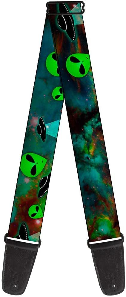 Buckle-Down Guitar Strap Aliens Ufos Galaxy Green Black White 2 Inches Wide (GS-W30163)