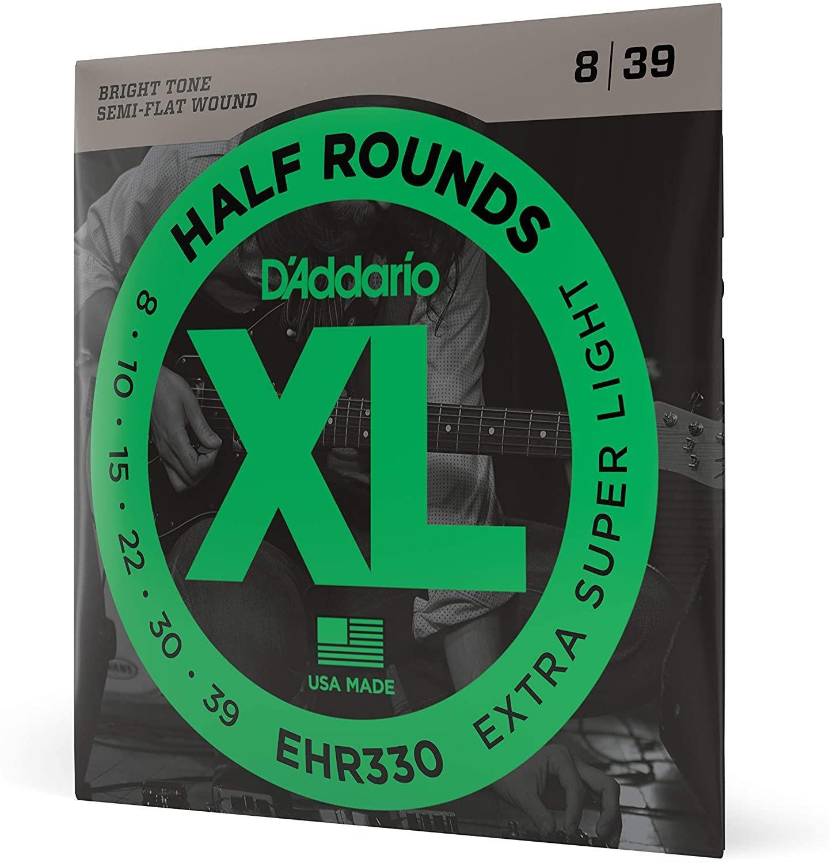 D'Addario EHR330 Half Round Electric Guitar Strings, Extra-Super Light, 8-39
