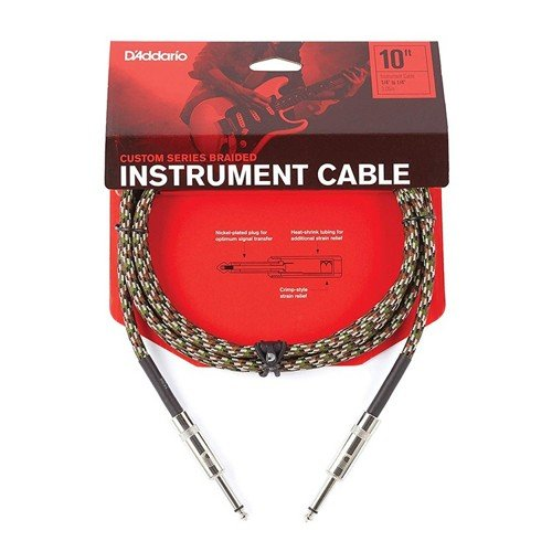 D'Addario 10ft Braided Instrument Cable Camouflage Straight/Straight