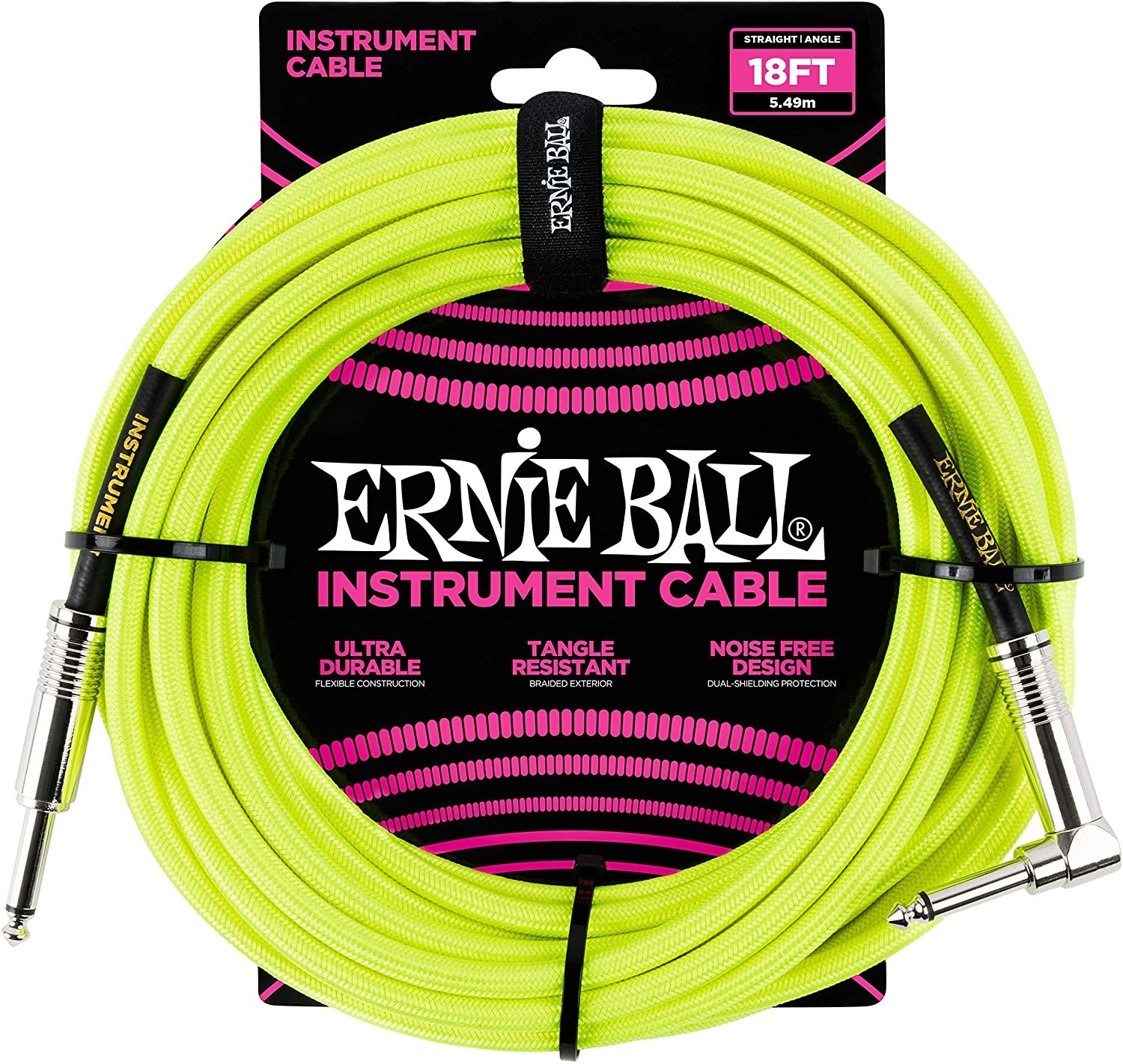Ernie Ball Instrument Cable, 1/4 Right Angle, Neon Yellow, 18 ft. (P06085)
