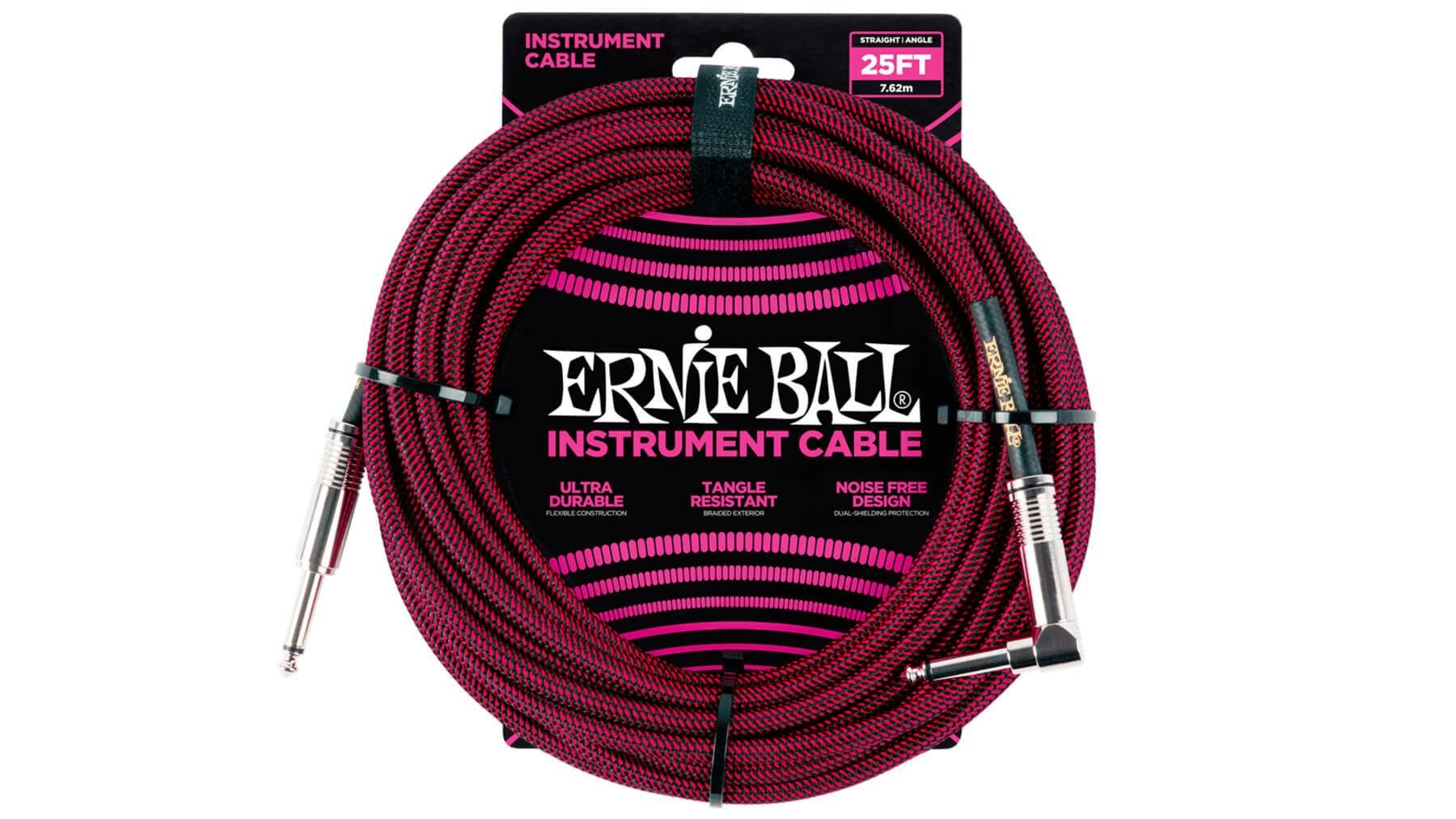 Ernie Ball 25 FT Straight to Angle Instrument Cable Red/Black