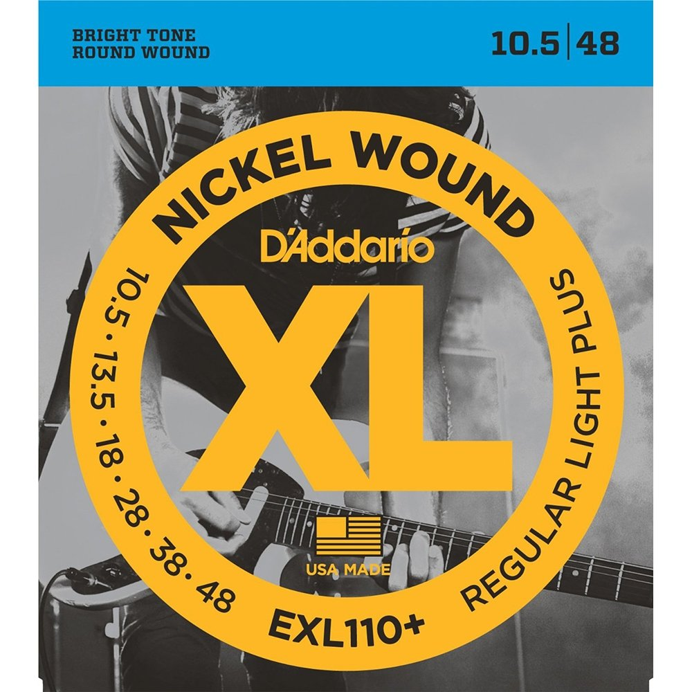 D'Addario EXL110+ Nickel Wound Electric Guitar Strings Regular Light Plus 10.5-48