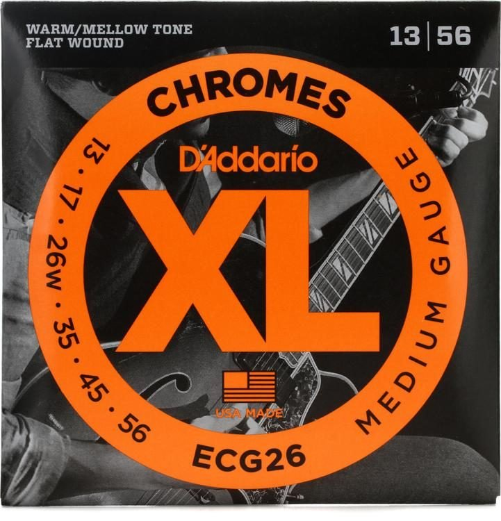 D'Addario ECG26 Chromes Flatwound Electric Strings - .013-.056 Medium