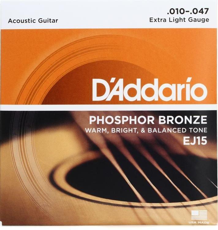 D'Addario EJ15 Phosphor Bronze Extra Light Acoustic Strings Single-Pack