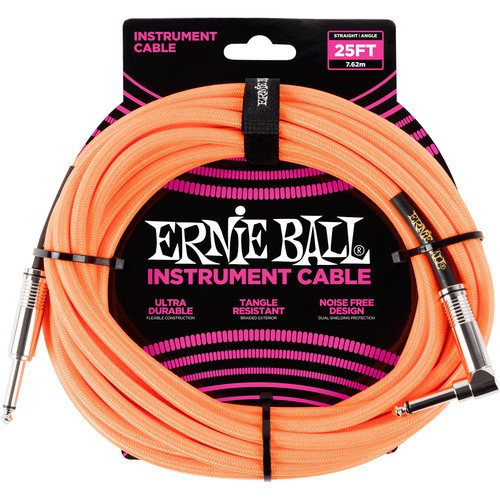 Ernie Ball 25 FT Straight to Angle Instrument Cable  Neon Orange