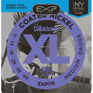 D'Addario XL Coated Nickel Wound Electric Guitar Strings, EXP115 Medium/Blues/Jazz