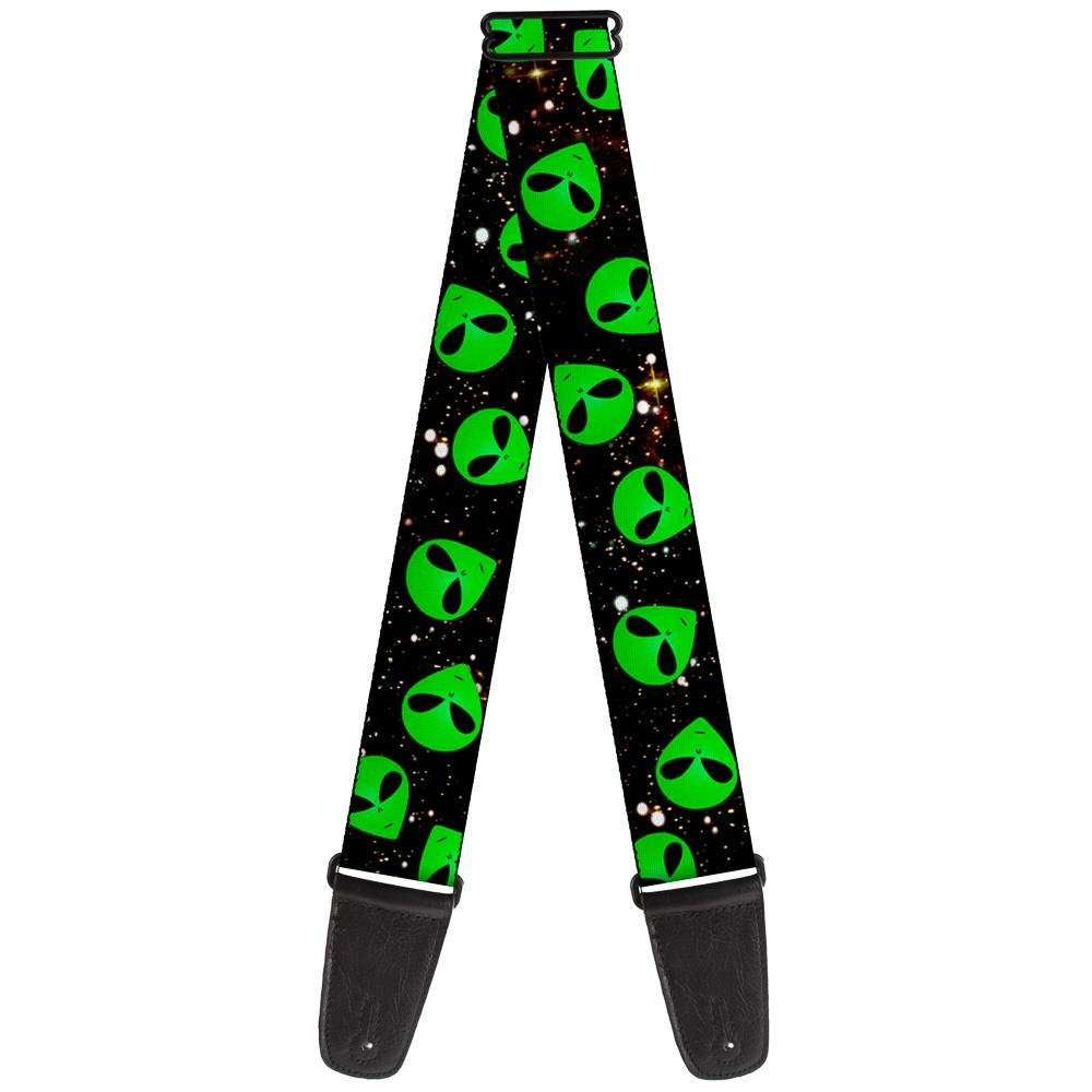 Buckle-Down Guitar Strap Aliens Head Scattered Galaxy2 Green Black 2 Inches Wide (GS-W30164)