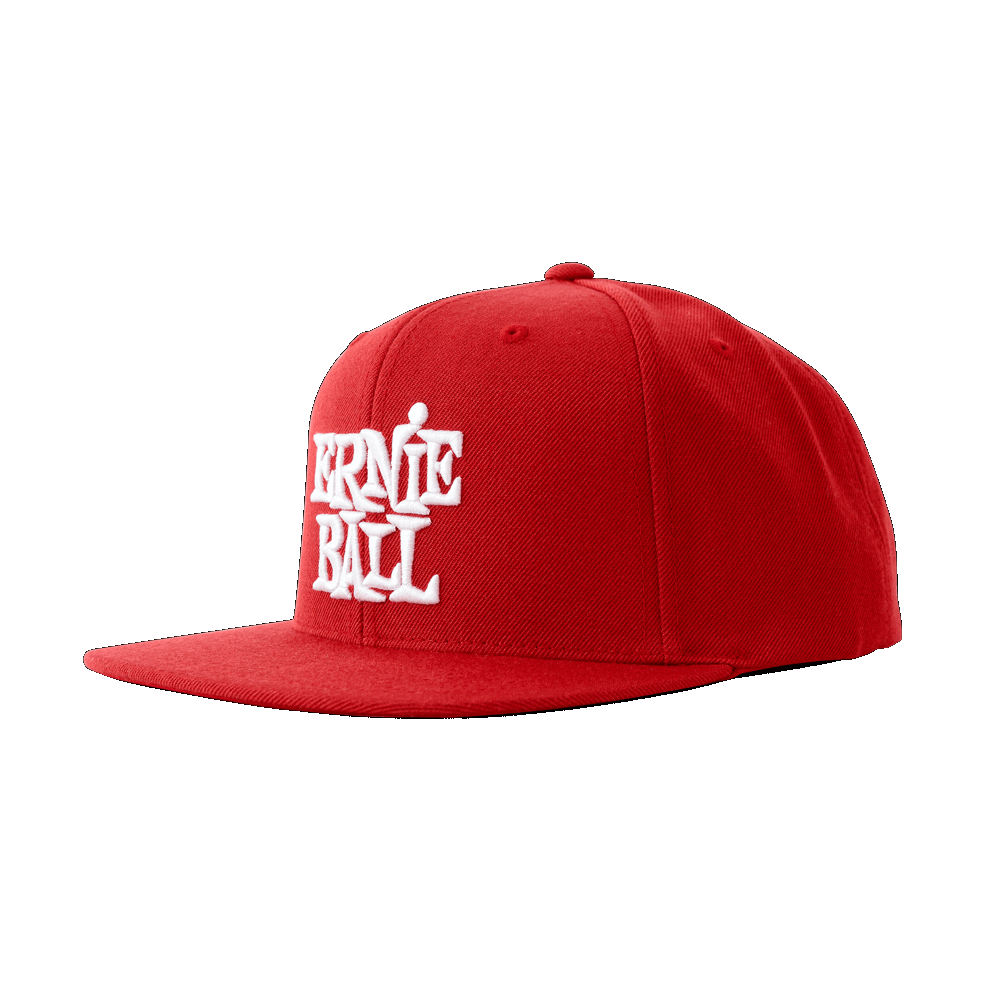 RED WITH WHITE STACKED ERNIE BALL LOGO HAT