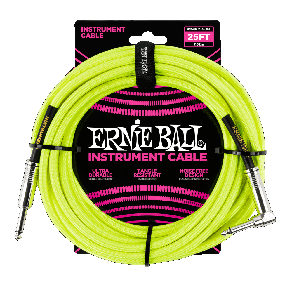 Ernie Ball P06057 Braided Straight / Angle Instrument Cable - 25' Neon Yellow