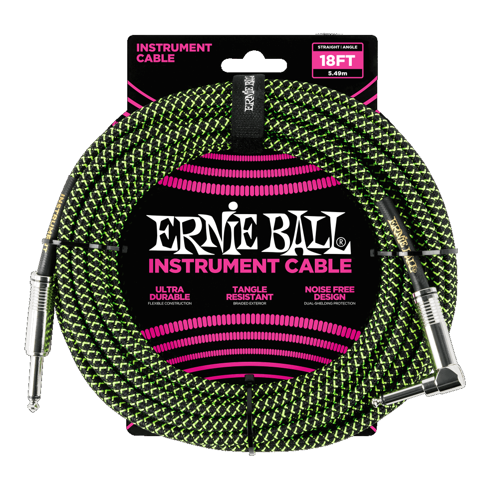 Ernie Ball Braided Instrument Cable Blk/Grn 18'