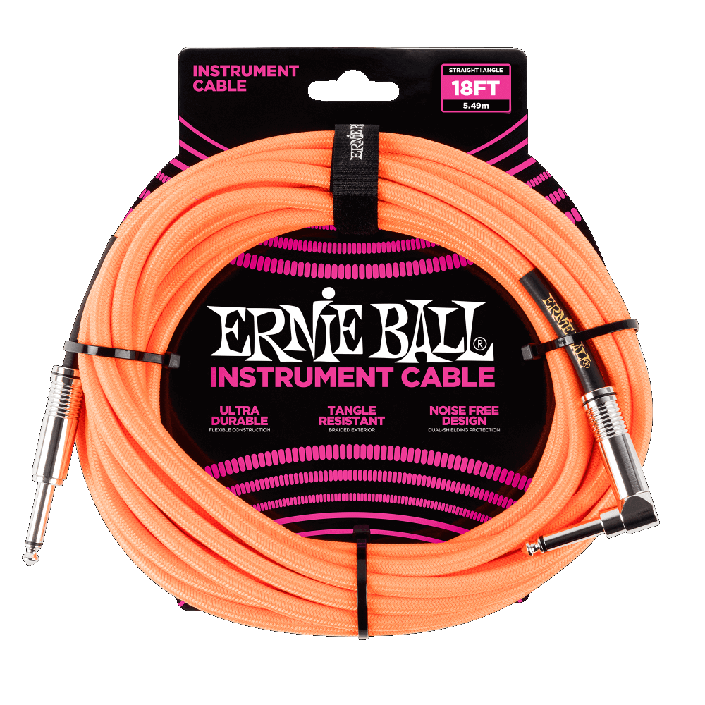 Ernie Ball 18FT Straight to Angle Instrument Cable  Neon Orange