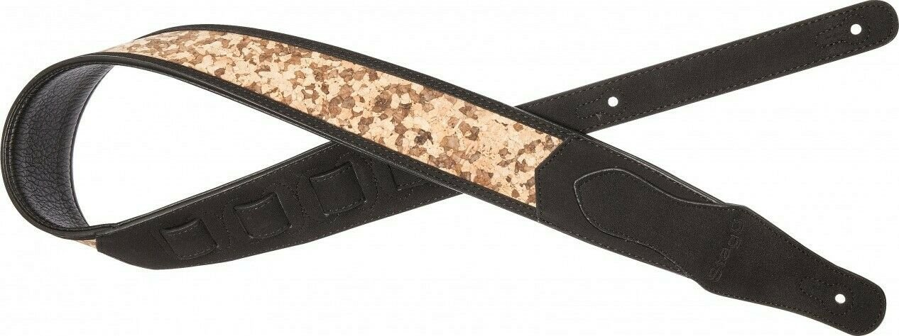 Black padded faux suede guitar strap with wooden puzzle pattern