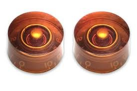 Allparts PK-0130-L22 Set of 2 Left-handed Vintage Style Amber Speed Knobs