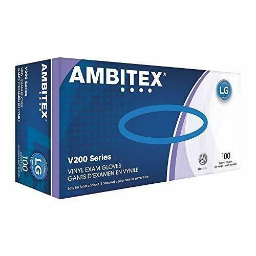 Ambitex Vinyl Exam Gloves V200 Series  100pk Large