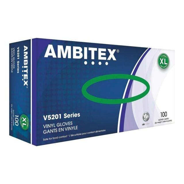 Ambitex Vinyl Gloves V5201 100 gloves Medium