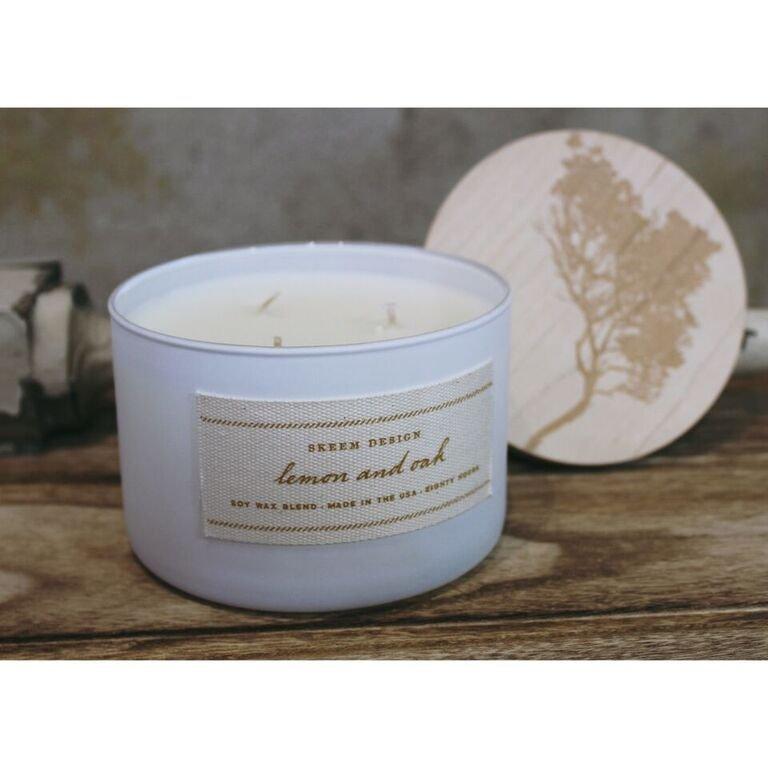 Lemon Oak Print Block Candle