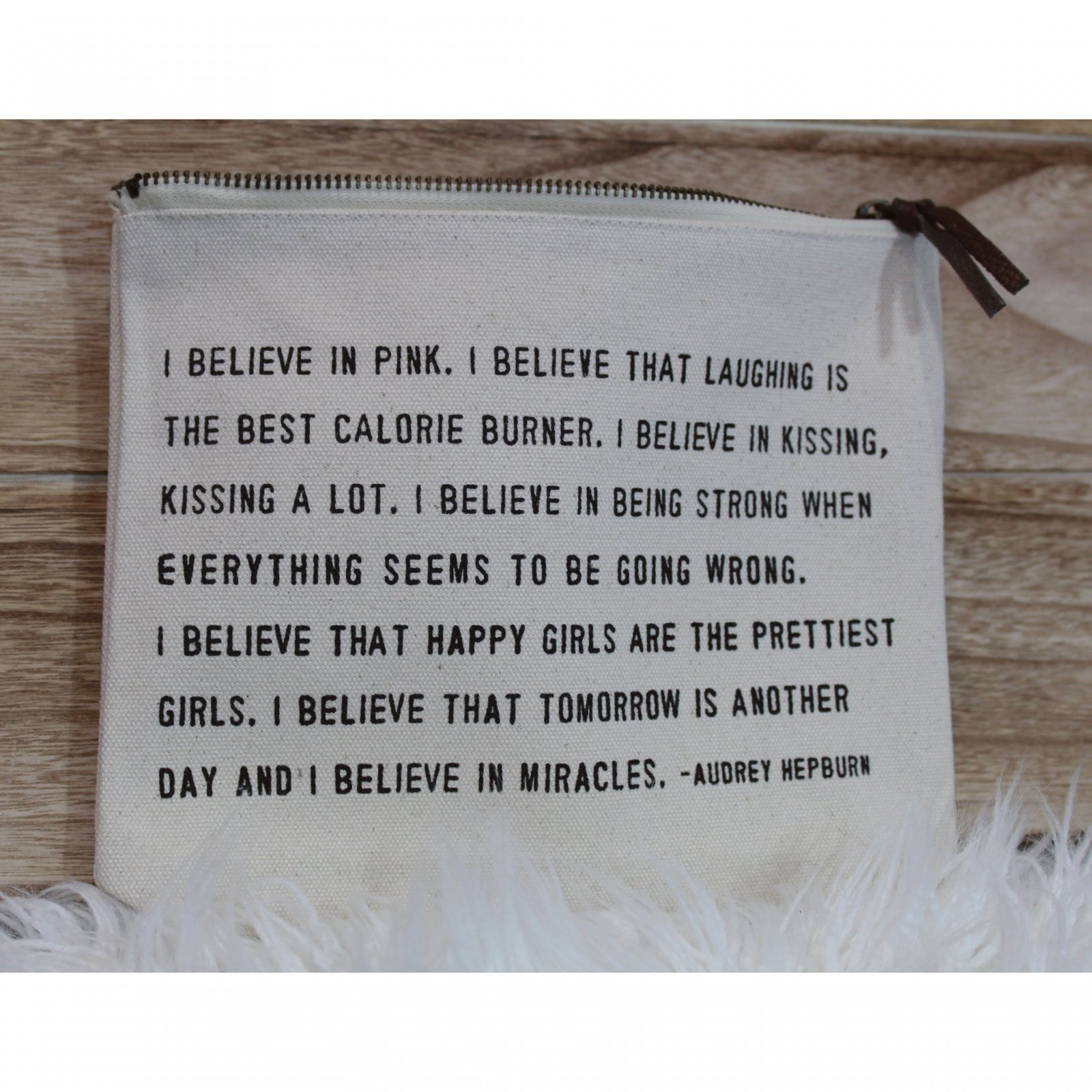 I Believe in Pink Canvas Quote Bag