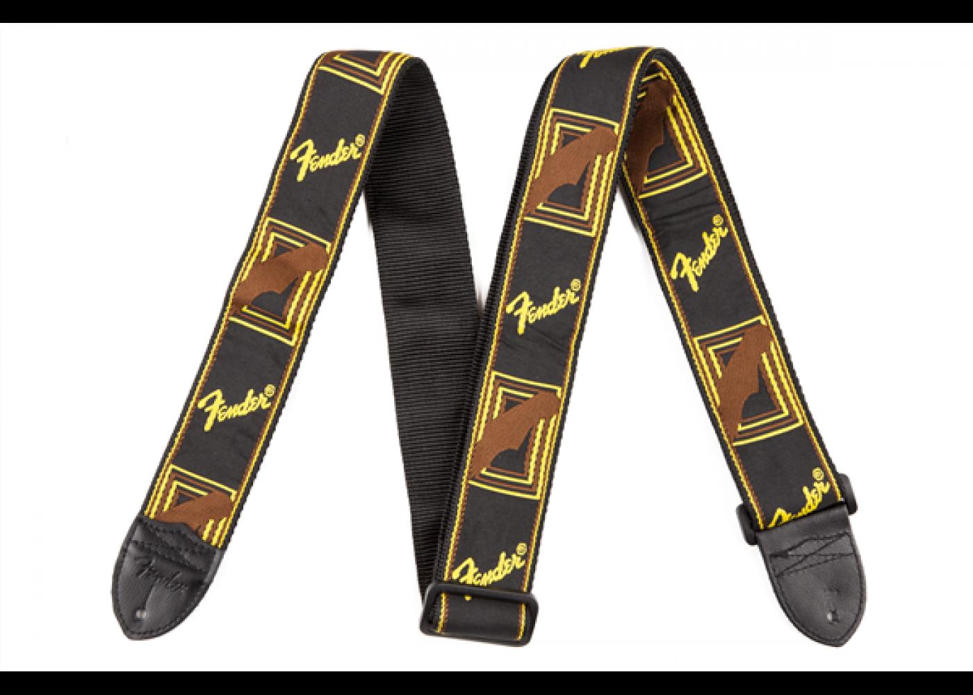 Strap, Fender Running Logo Strap Black and Gold