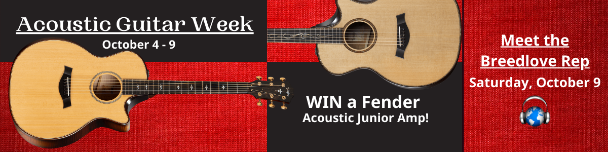 Acoustic Guitar Week October 4 - 9 at Third Rock Music Center. Meet the Breedlbove Rep on 10/9. Win a guitar amp.