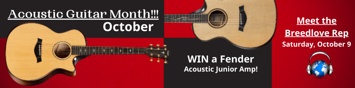 Acoustic Guitar Month at Third Rock Music Center. Meet the Breedlbove Rep on 10/9. Win a guitar amp.