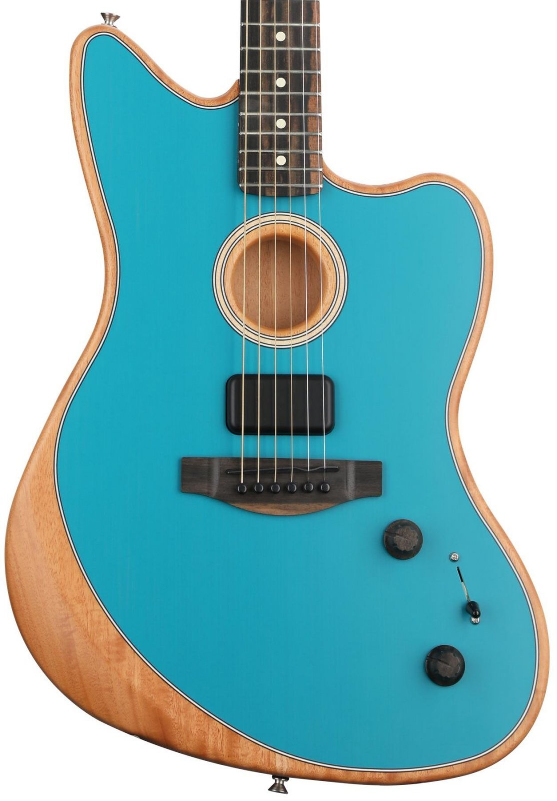Fender Acoustasonic Jazzmaster with a bag in Ocean Turquois