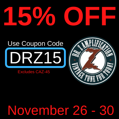 Take 15% of Dr. Z Amps in stock at Third Rock Music Center between 11-26-20 and 11-30-20.