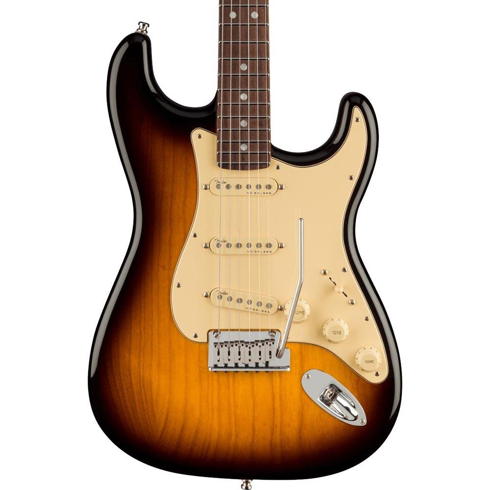 Fender Ultra Luxe Strat in  2 tone sunburst with a rosewood neck